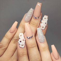 Beige Nail Art is part of Mermaid Blue nails Aqua - cute nail art design Beige Nail Art, Beige Nails, Acrylic Nail Designs, Nail Art Designs, 3d Acrylic Nails, Nails Design, 3d Nail Art, Fancy Nail Art, Salon Design