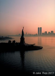 Statue of Liberty and Lower Manhattan at sunrise, New York City,   Flickr - Photo Sharing!