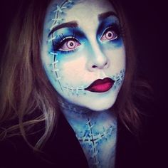 My daughter, Sally, as Sally Stitches....makeup done by herself!