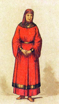 A costume of a married woman from a medieval Russian town. The XIth century.