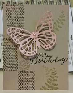 SU! Butterfly Basics stamp set; Butterfly Framelits; Old Olive, Early Espresso and Crumb Cake ink; Crumb Cake and Blushing Bride cardstock - Windy Ellard