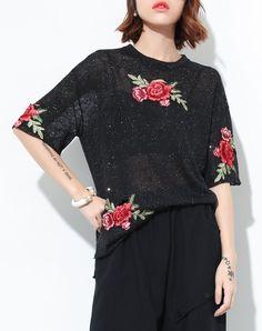 #AdoreWe #VIPme T-Shirts❤️Designer QLZW Black Cotton Rose Embroidery Oversized T Shirt - AdoreWe.com