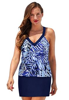 68574632f7 Introducing Roamans Womens Plus Size V Neck Sport Swim Top Navy Palm  Stripe22. Great product and follow us for more updates!