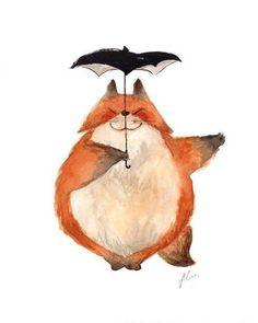 Totoro Pose illustration Series Fox by Siranarts (Siran Liu) Children's Book Illustration, Watercolor Illustration, Watercolor Animals, Watercolor Paintings, Drawing Sketches, Art Drawings, Fox Art, Cute Fox, Totoro