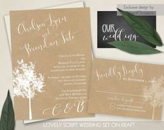 The wedding invitation is 5x7 and has kraft paper backing with a white tree and is completed with contemporary calligraphy style fonts and modern stylings.