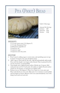 Homemade Toast: Pita bread looks pretty easy to do with kids Bread Recipes, Cooking Recipes, Pita Recipes, Homemade Pita Bread, Pita Pockets, Good Food, Yummy Food, Fast Food, Bread Baking