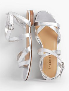 Keri Multi Straps Ankle-Strap Sandals - Metallic