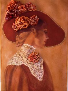 Quadro Lady made with ribbon embroidery by SilkRibbonembroidery, €100.00
