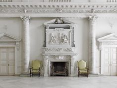 Fireplace in the Entrance Hall at Clandon Park, Surrey.