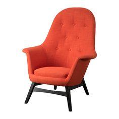 IKEA - BENARP, Fauteuil, Skiftebo oranje, , De hoge rugleuning geeft een goede steun van je nek en hoofd.