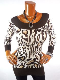 5d3d2670e60 CACHE Womens Top M SEXY Animal Print Blouse Casual Stretch Knit  Cache   Blouse