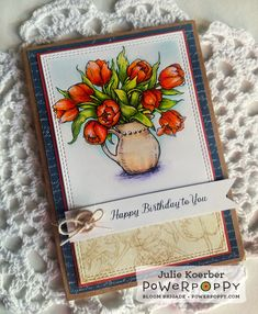 Tulips in Hobnail Pitcher digital stamp by Power Poppy, card design by Julie Koerber.
