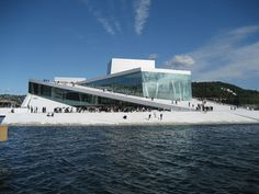 The Norwegian Opera and Ballet in Bjørvika, Oslo, on a sunny summer day.