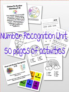 One, Two, Three: Math Time!: Kindergarten Number Recognition Unit