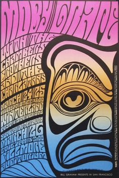 Original 1967 Rock Poster - Bill Graham Presents Moby Grape - San Francisco Painting. By Wes Wilson. Hippie Posters, Rock Posters, Band Posters, Event Posters, Film Posters, Doodles Zentangles, Vintage Rock, Vintage Music, Vintage Movies