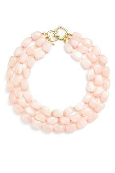 Trio Rose Quartz Necklace by Kenneth Jay Lane Pink Jewelry, Gemstone Jewelry, Quartz Jewelry, Jewelry Necklaces, Long Necklaces, Statement Necklaces, Jewellery, Pink Necklace, Quartz Necklace