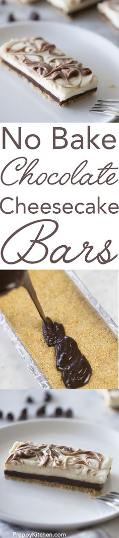 Simple and delicious, these no bake chocolate cheesecake bars are the perfect dessert for a summer day. Click over for full recipe and video.