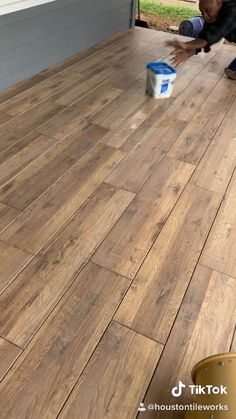 Porch Tile insatallation Laminate Flooring While Wood Look Tile Floor, Hardwood Floor Colors, Wood Tile Floors, Vinyl Plank Flooring, Wooden Flooring, Kitchen Flooring, Home Flooring, Evp Flooring, Tile Looks Like Wood