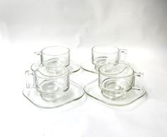 Vintage 1960s Italian Joe Columbo set clear glass cups by evaelena, $28.00