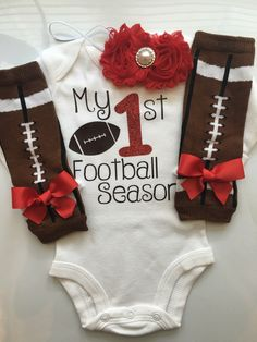 Baby Girl outfit -My 1st Football Season- baby girl outfit - football legwarmers - Newborn Football outfit - Preemie-24 month-RED by AboutASprout on Etsy https://www.etsy.com/listing/462976164/baby-girl-outfit-my-1st-football-season