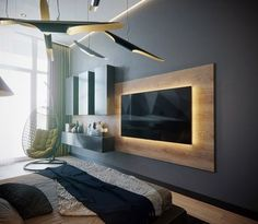 Modern LED TV Wall Panel Designs for Your Living Room - Amazing LED TV Wall Panel Design Ideas If you have a LED Tv and you want some good wall panel desig - Tv Wall Panel, Wall Panel Design, Tv Wall Design, Wall Tv, Hanging Tv On Wall, House Design, Modern Tv Wall Units, Modern Tv Room, Modern Living