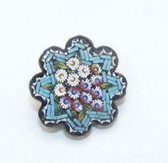 Victorian micro mosaic flower brooch