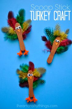 Use scoop sticks to make this fun and simple Turkey Craft for Kids for Thanksgiving.