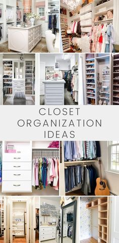 You'll love these 10 amazing walk in closet organization ideas. From designer closets to DIY closet organizer ideas, these closet makeover tips will help maximize your space and create a beautifully organized space.for your closet! Diy Custom Closet, Custom Closet Design, Closet Designs, Clutter Organization, Organization Ideas, Storage Ideas, Organizing Walk In Closet, Organizing Life, Diy Walk In Closet