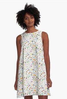 'Rhapsody in Blue, White Background' A-Line Dress by Sharon Schwalbe Rhapsody In Blue, Poppy Pattern, Boho Green, Pink Patterns, Dress Patterns, Pastel Blue, Pink Blue, Blue Roses, Organic Shapes