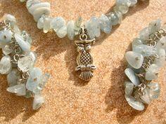 Aquamarine and silver owl necklace set