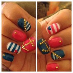 Nautical Nails (I would rather do it with gold polish instead of bling!)