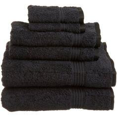 Cotton 6 Piece Towel Set Color: Black ($46) ❤ liked on Polyvore featuring home, bed & bath, bath, bath towels, bathroom, decor, filler, black towel set, black bath towels and cotton bath towels