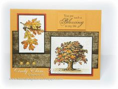 """By Cindy Elam. Uses """"Lovely As a Tree"""" stamp set (Stampin' Up). She used a woodgrain stamp to create the board-looking background panel, but if you have scrapbook paper with a woodgrain pattern, you could use that. Halloween Cards, Fall Halloween, Fall Cards, Holiday Cards, Masculine Birthday Cards, Masculine Cards, Leaf Cards, Thanksgiving Cards, Homemade Cards"""