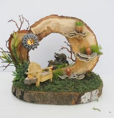 Natural Wood OOAK Fairy Garden Display With by FlowersandFrills