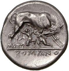Didracma - argento - Roma (269-266 a.C.) - verso: la lupa allatta Romolo e Remo, in basso: ROMANO - Münzkabinett der Staatlichen Museen Berlin