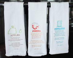 Make kitchen towels with children's art and where they think everything came from! so cute!