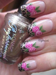 Roses & leopard print nail art design