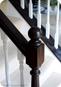 Bye bye Cherry, Helloooo Java: The (EASY! Painted Stair Railings, Stair Banister, Banisters, Banister Remodel, Oak Trim, Staircase Makeover, Master Bedroom Makeover, Staircase Design, Diy Home Improvement