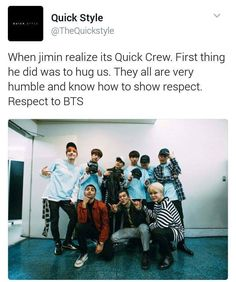 "#BTS that's awesome! I had to look it up but Quick Crew are the ones who choreographed ""Save Me."" they are amazingly talented!!! BTS stans talent too! <3 I like how Jimin just hugged him ^^ he is literally to cute!"