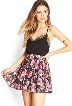 Pleated Rose Print Skirt | FOREVER21 #SummerForever
