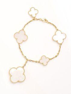 Van Cleef & Arpels 18K Mother of Pearl Magic Alhambra Bracelet at London Jewelers!
