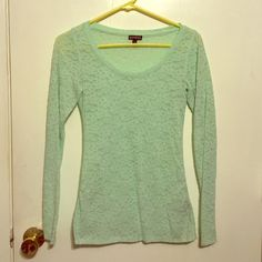 Mint Green Long Sleeve Lace Express Shirt Great condition long sleeve express shirt. Mint green. Looks great with a pair of slacks or jeans. Fitted shirt, but stretchy fabric. Express Tops
