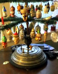 Antique german musical christmas tree stand music box for Motorized rotating christmas tree stand