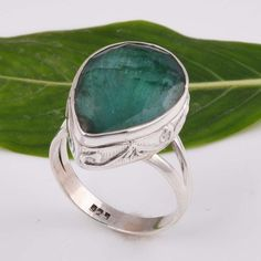 925 SOLID STERLING SILVER EXCLUSIVE EMERALD RING 6.54g DJR5918 #Handmade #Ring
