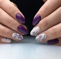 Amazing Winter With Violet Acrylics Nail Art 06 Simple Nails Design, Simple Nail Art Designs, Stylish Nails, Trendy Nails, Rose Gold Nails, Purple Nails, Shellac Nails, Nail Nail, Nail Polish
