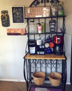 20 Handy Coffee Bar Ideas for Your Home   Bakers rack, Repurposed ...