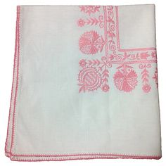 One Kings Lane - Alfresco Fete - Pink Embroidered Tablecloth