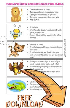 Make Breathing Exercises Fun for Kids with Yoga Breathing and the Animal World: Lion& Breathing, Bumble Bee Breathing, Cat Breathing, Crocodile Breathing Yoga Breathing Exercises, Relaxation Exercises, Stretches, Calming Activities, Therapy Activities, Excersise For Kids, Toddler Exercise, Yoga Chart, Yoga Poses For Two