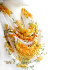 Yellow Orange Flowers Elegant Scarf Spring Square 38 x 38 inches Women's Fashion Accessories Soft Cotton Large Print ... Cotton Scarf, Orange Flowers, Large Prints, Shawl, Fashion Accessories, Elegant, Yellow, Spring, Womens Fashion