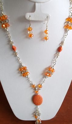 Orange necklace in crystal and chain